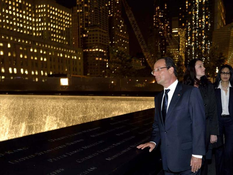 French President Francois Hollande and companion Valerie Trierweiler (not pictured) visit the September 11 Memorial at Ground Zero at the World Trade Center in New York. Reuters Photo