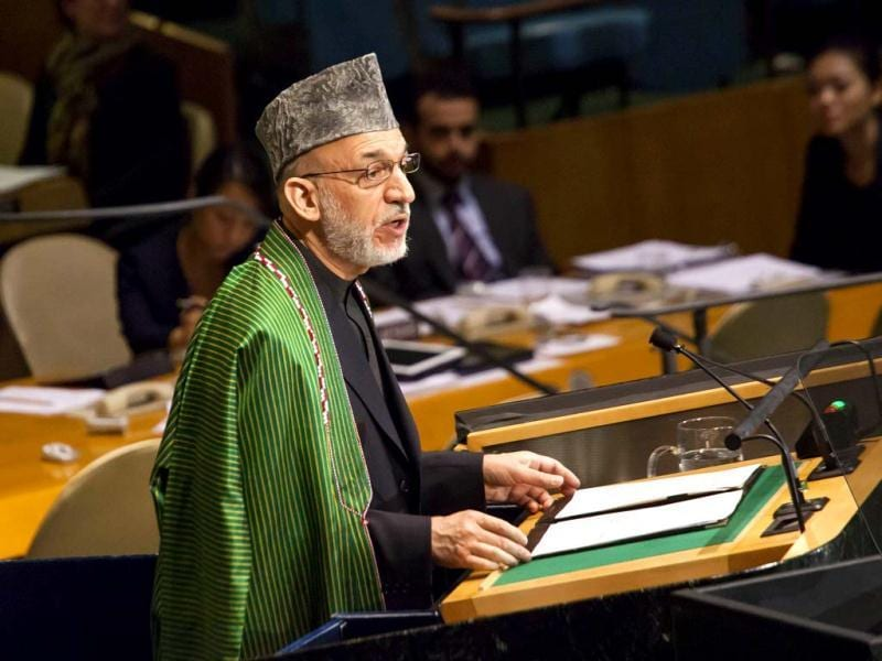 Hamid Karzai, President of Afghanistan, addresses the United Nations General Assembly in New York City. AFP