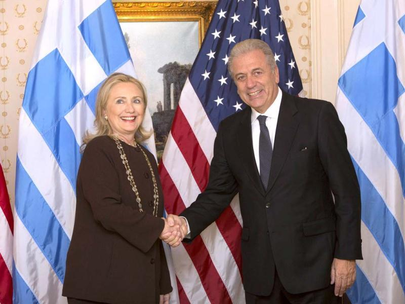 US Secretary of State Hillary Clinton meets with Greece's Foreign Minister Dimitris Avramopoulos on the sidelines of the United Nations General Assembly in New York. REUTERS/Andrew Kelly