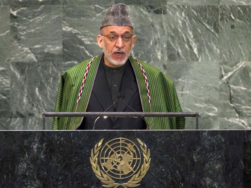 Afghanistan's President Hamid Karzai addresses the 67th session of the United Nations General Assembly at UN headquarters in New York. REUTERS/Ray Stubblebine