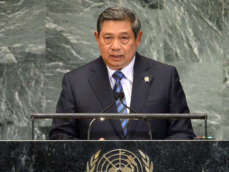 Indonesia's President Susilo Bambang Yudhoyono addresses the 67th UN General Assembly at the United Nations headquarters in New York. AFP PHOTO/Emmanuel DUNAND