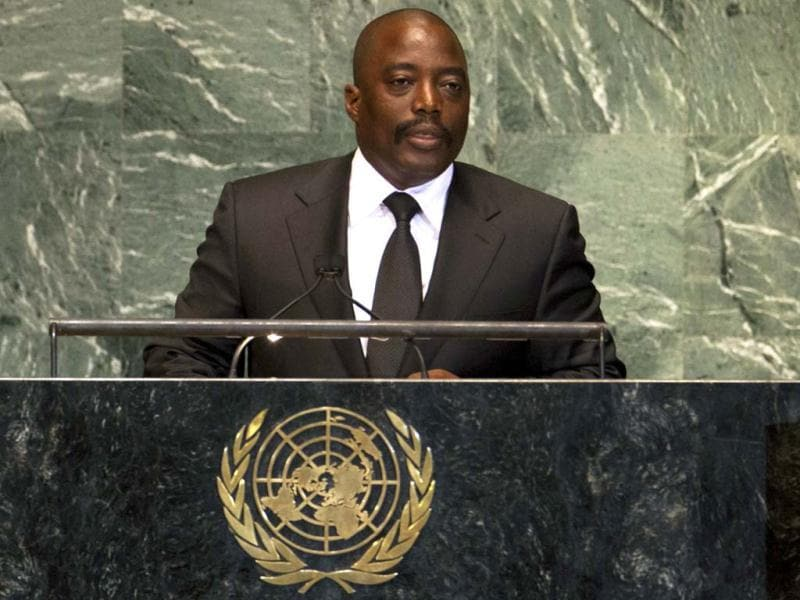 Joseph Kabila Kabange, President of the Democratic Republic of the Congo, addresses the 67th session of the United Nations General Assembly at UN headquarters in New York. REUTERS/Ray Stubblebine