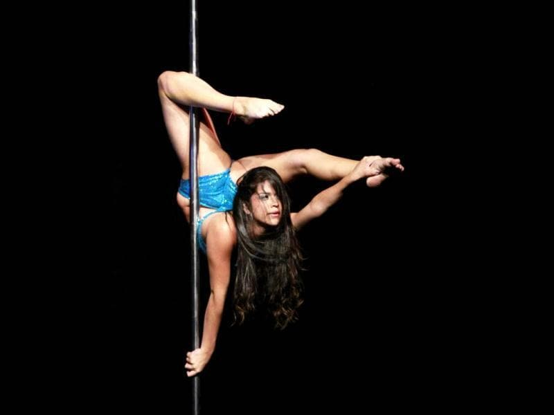 Participant Maria Prieto competes in the annual Colombian pole dancing contest in Medellin. Reuters/Albeiro Lopera