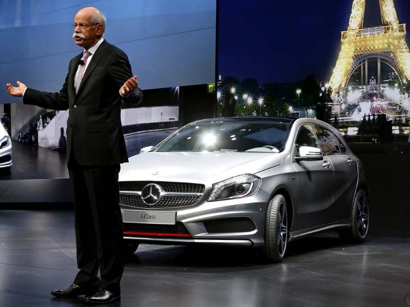 Daimler AG's chief executive officer Dieter Zetsche speaks next to the new Mercedes Benz A Class model on media day at the Paris Mondial de l'Automobile. Reuters/Jacky Naegelen
