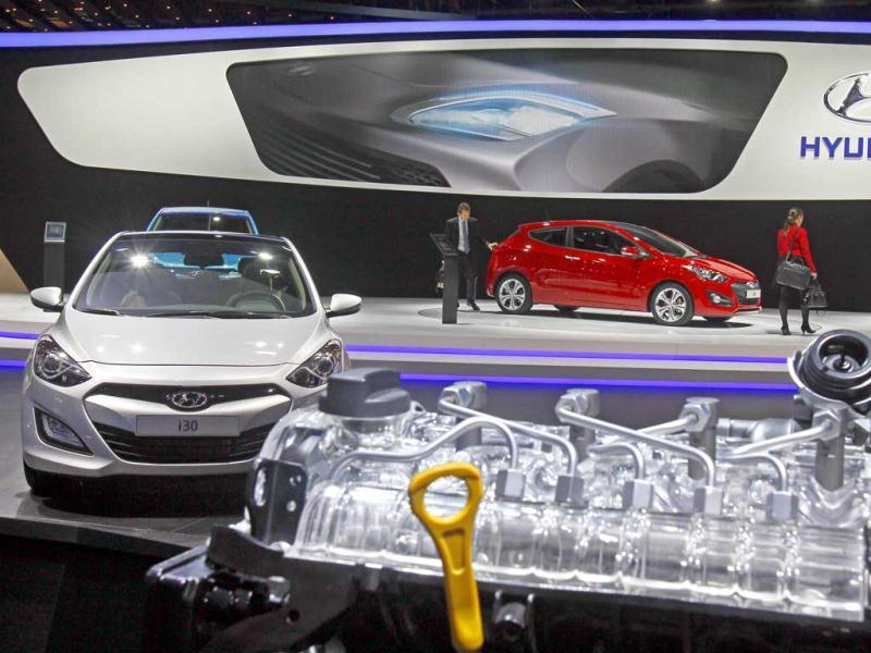 Partial view of the Hyundai stand on the eve of the opening of the Paris Auto Show. AP Photo/Remy de la Mauviniere
