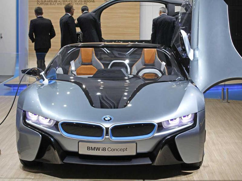 A BMW i8 concept car, is displayed at the BMW stand, on the eve of the opening of the Paris Auto Show. AP Photo/Remy de la Mauviniere