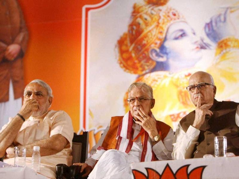 Senior BJP leaders LK Advani, Murli Manohar Joshi and Gujarat chief minister Narendra Modi during the party's National Council Meeting at Surajkund, Faridabad. PTI Photo by Subhav Shukla