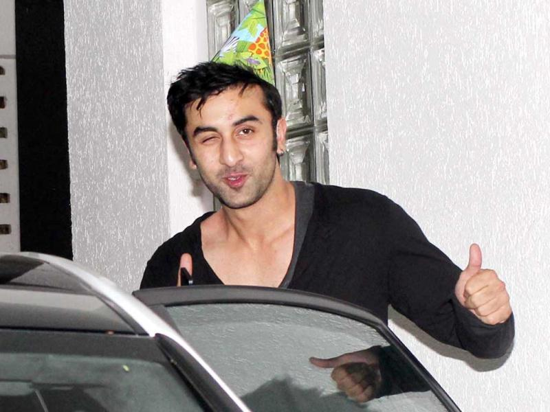 Ranbir Kapoor wears a naughty expression.