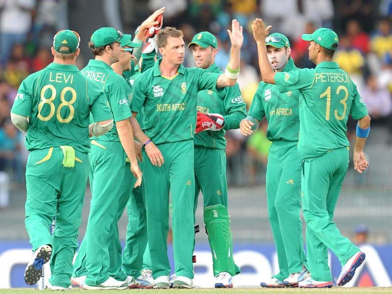 South African cricketer Dale Steyn celebrates with his teammates after he dismissed Pakistan cricketer Imran Nazir during the ICC Twenty20 Cricket World Cup's Super Eight match between Pakistan and South Africa at the R Premadasa International Cricket Stadium in Colombo. AFP Photo / Lakruwan Wanniarachchi