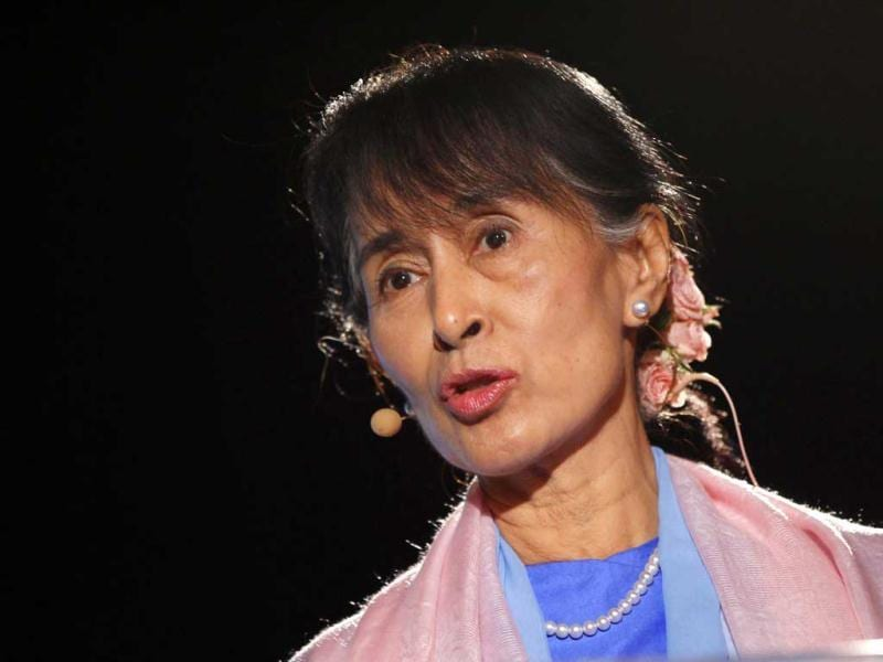 Myanmar pro-democracy leader and Nobel laureate Aung San Suu Kyi speaks at the Human Rights Foundation's first San Francisco Freedom Forum in San Francisco, California. Reuters Photo