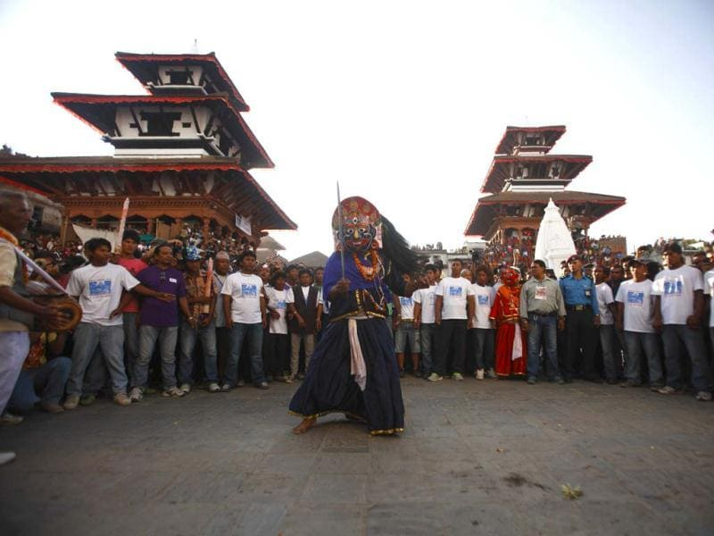 A mask dancer performs a traditional mask dance during the Indra Jatra festival in Kathmandu. Reuters/Navesh Chitrakar
