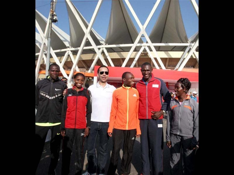 Event Ambassador and Olympic Gold medalist, David Rudisha (2nd R) with other elite athletes at a press conference for Delhi Half Marathon 2012 at Jawharlal Nehru Stadium in New Delhi. PTI Photo