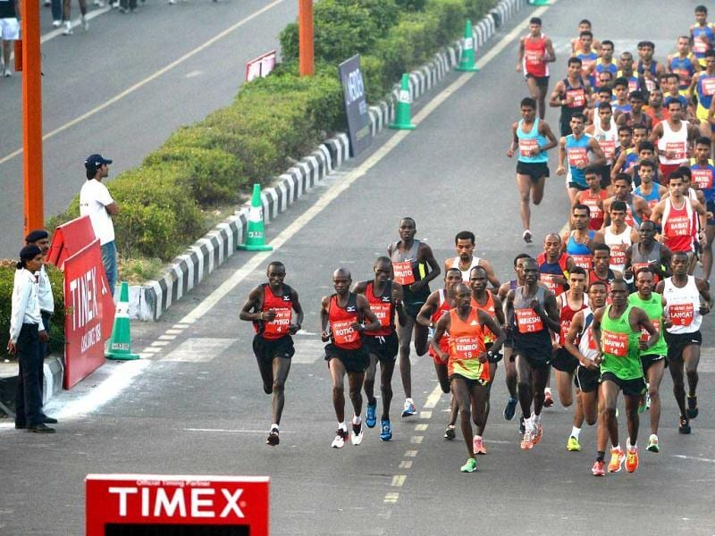 Edwin Kipyego competes in the men's event of the 2012 Airtel Delhi Half Marathon in New Delhi. AFP Photo