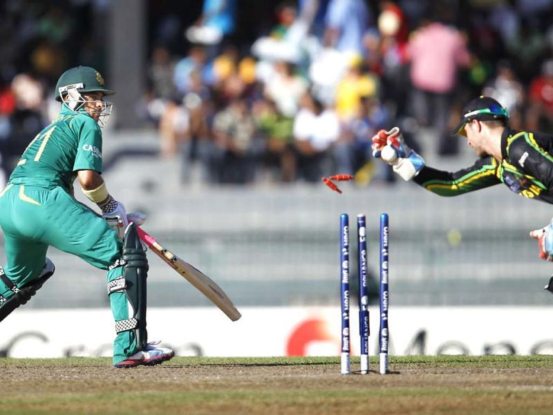 South Africa's JP Duminy being stumped by wicket keeper Matthew Wade on Xavier Doherty delivery during the ICC T20 World Cup cricket match between Australia and South Africa at R. Premadasa Stadium in Colombo, Sri Lanka. HT Photo/Ajay Aggarwal
