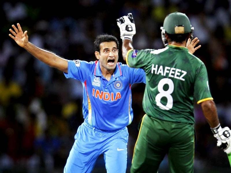 Irfan Pathan celebrates the dismissal of Imran Nazir during the ICC T20 World Cup cricket match, Super Eight group between India and Pakistan at R. Premadasa Stadium in Colombo, Sri Lanka. Photo: Ajay Aggarwal/Hindustan Times
