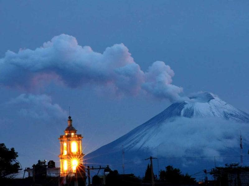 Ash and smoke spew from Popocatepetl volcano in Panotla community on Tlaxcala, Mexico. AFP Photo