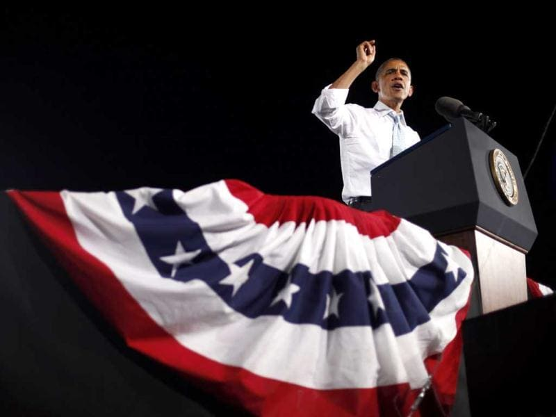 President Barack Obama speaks during a campaign event in Desert Pines High School in Las Vegas. AP Photo