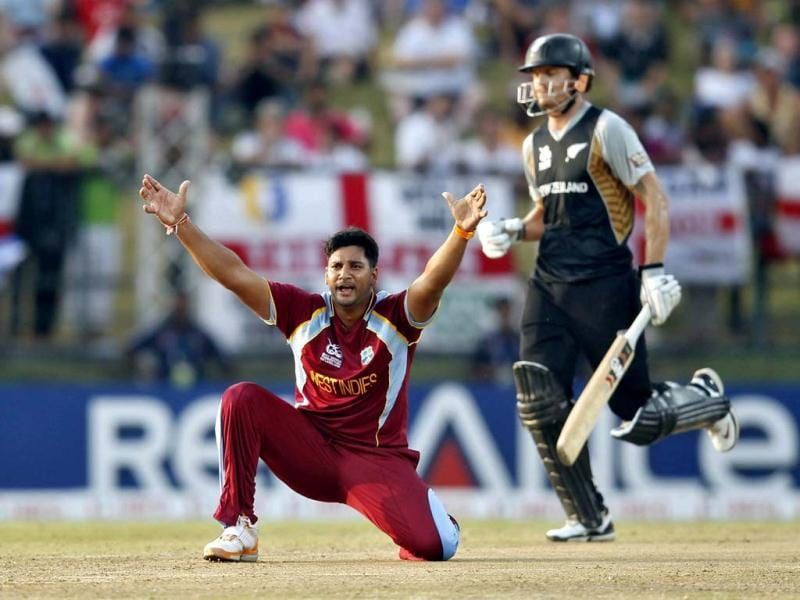 West Indies' Ravi Rampaul successfully appeals for the wicket of New Zealand's Rob Nicol (R) during their Twenty20 World Cup Super 8 cricket match in Pallekele. Reuters/Dinuka Liyanawatte