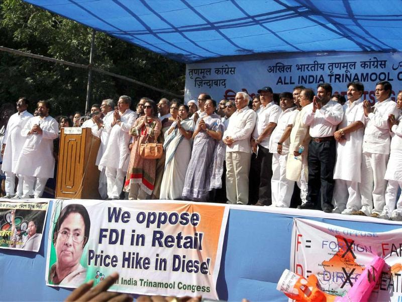 Trinamool Congress chief and West Bengal chief minister Mamata Banerjee with the party leaders at a party rally against FDI in multi-brand retail and diesel price hike in New Delhi. (PTI Photo by Atul Yadav)