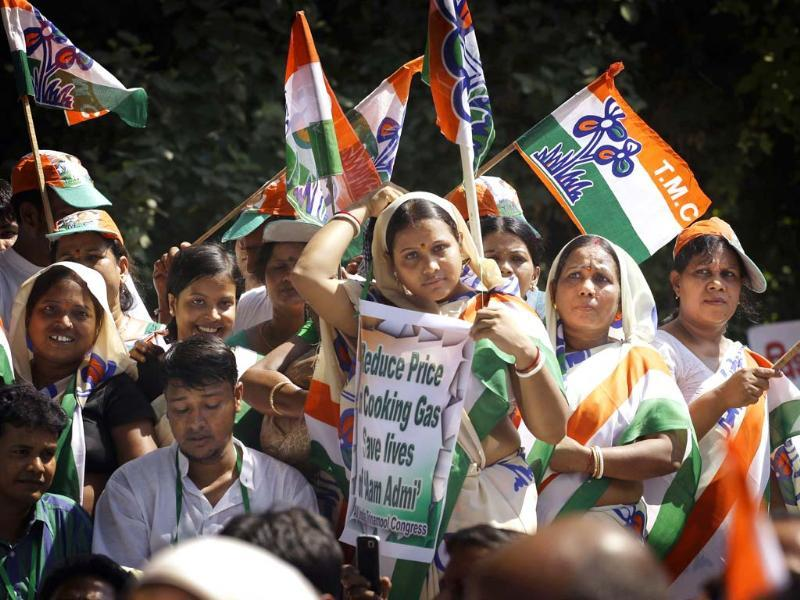 Supporters of Trinamool Congress party wave their party flags as they wait for their leader Mamata Banerjee at a rally in New Delhi. (AP Photo/Saurabh Das)