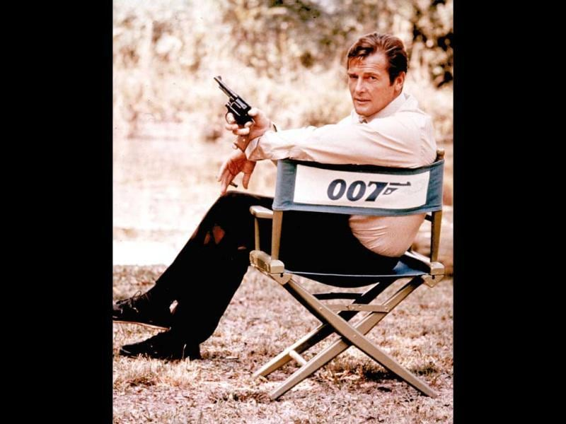 British actor Roger Moore, playing the title role of secret service agent 007, James Bond, is shown on location in England in 1972. Moore, played Bond in seven films, more than any other actor. (AP Photo, File)