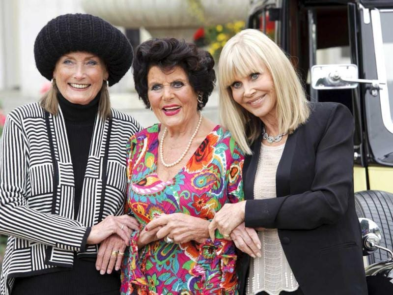 Actors, from left, Tania Mallet, Eunice Gayson and Britt Ekland pose at a photocall for Bond 50 on Friday, Sept. 21, 2012 in London. (Photo by Jonathan Short/Invision/AP)