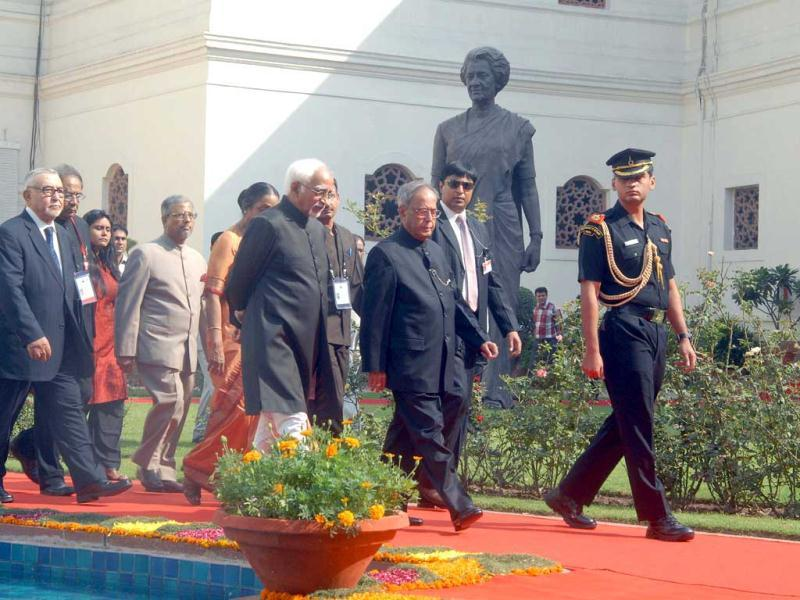 President Pranab Mukherjee, Vice President Hamid Ansari, Lok Sabha Speaker Miera Kumar and other dignitaries arriving at the Central Hall of Parliament House in a procession to address the 7th meeting of Women Speakers of Parliament in New Delhi.