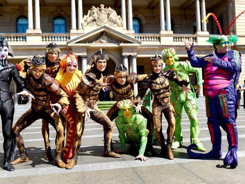 Performers from Cirque du Soleil prepare for a promotional event in Sydney's Circular Quay. Cirque du Soleil is in Australia with its critically-acclaimed and family-friendly big top production OVO, described as 'A teeming world of insects'. (AFP Photo)