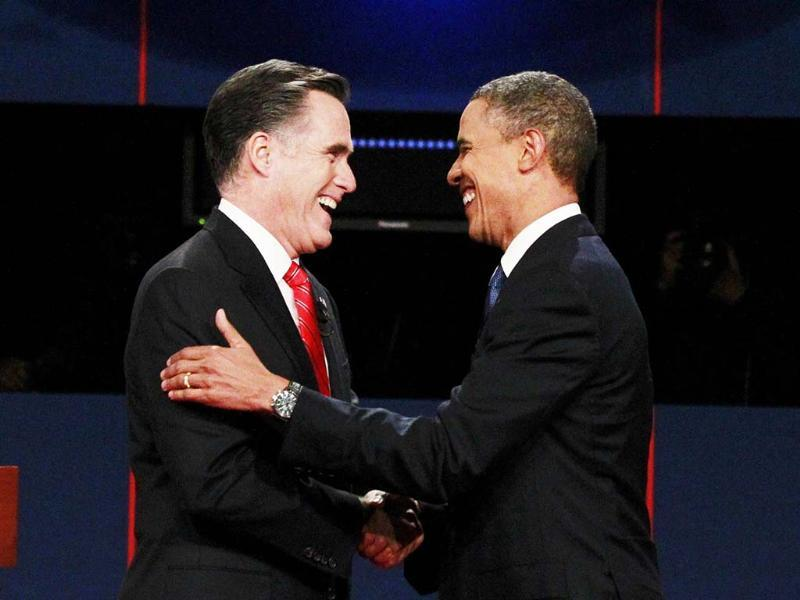 Republican presidential nominee Mitt Romney shakes hands with President Barack Obama at the start of the first 2012 US presidential debate in Denver. Reuters/UNI