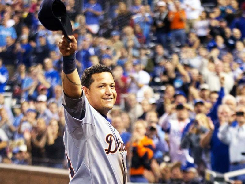 Detroit Tigers' Miguel Cabrera waves to the crowd after being replaced during the fourth inning of a baseball game against the Kansas City Royals at Kauffman Stadium in Kansas City, Missouri. AP/Orlin Wagner