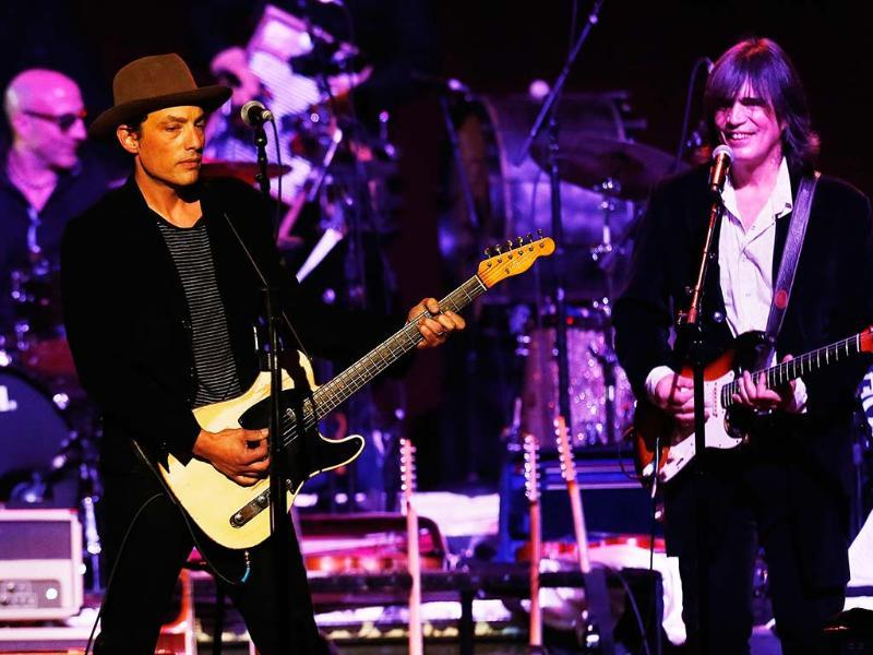 Musician Jakob Dylan performs with Larry Campbell during the