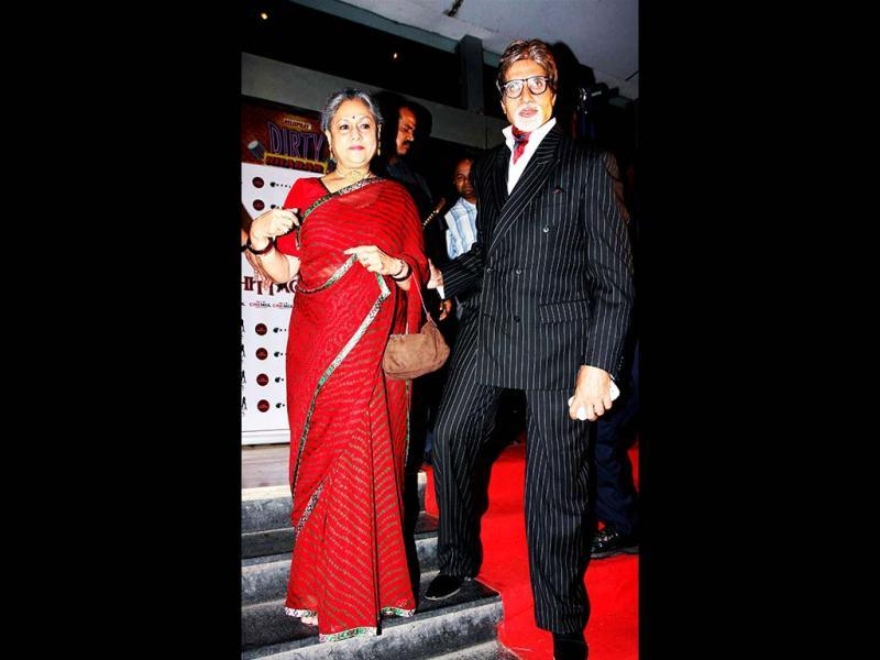 Big B and Jaya Bachchan arrive for the screening of Chittagong. (AFP)