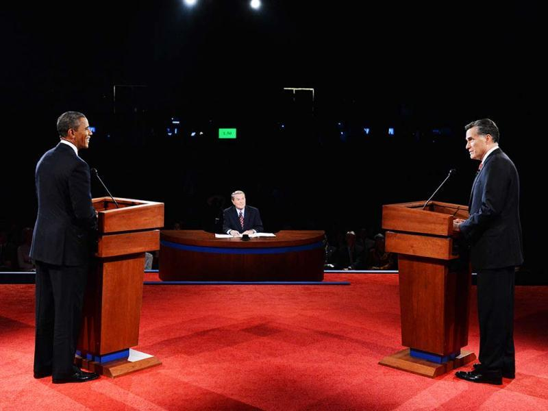 US President Barack Obama and Republican challenger Mitt Romney participate in their first debate at the University of Denver in Denver, Colorado. (AFP Photo)
