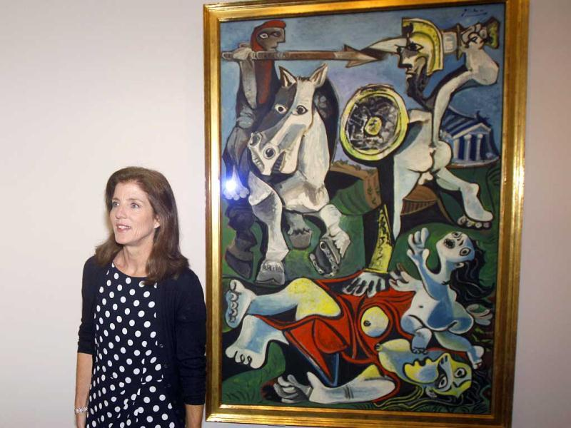 Caroline Kennedy, president of the John F Kennedy Library Foundation, unveils Pablo Picasso's painting