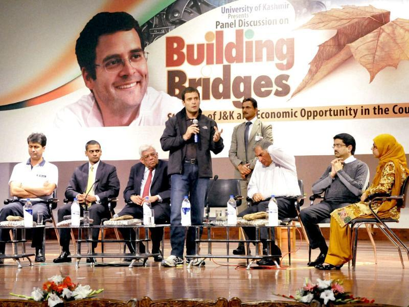 Congress leader Rahul Gandhi speaks to the students during a panel discussion on Building Bridges at Kashmir University in Srinagar. Top industrialists Ratan Tata, Kumar Mangalam Birla, Deepak Parekh and Rajeev Bajaj are also seen. PTI Photo
