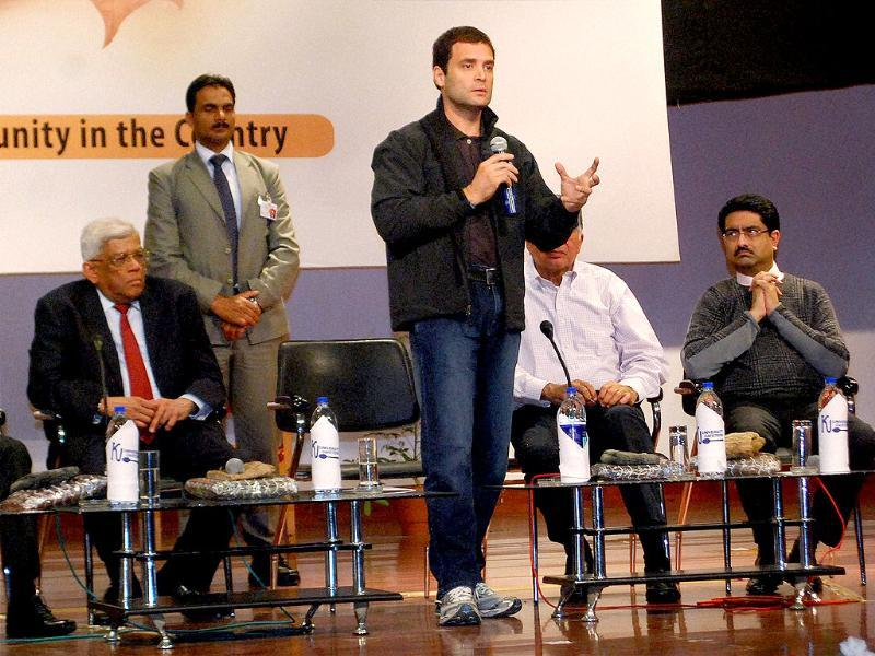 Congress leader Rahul Gandhi speaks to the students during a panel discussion on Building Bridges at Kashmir University in Srinagar. PTI Photo