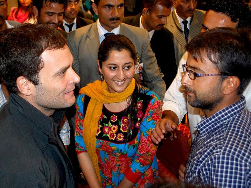 Congress leader Rahul Gandhi interacts with students during a visit to Kashmir University in Srinagar. PTI Photo