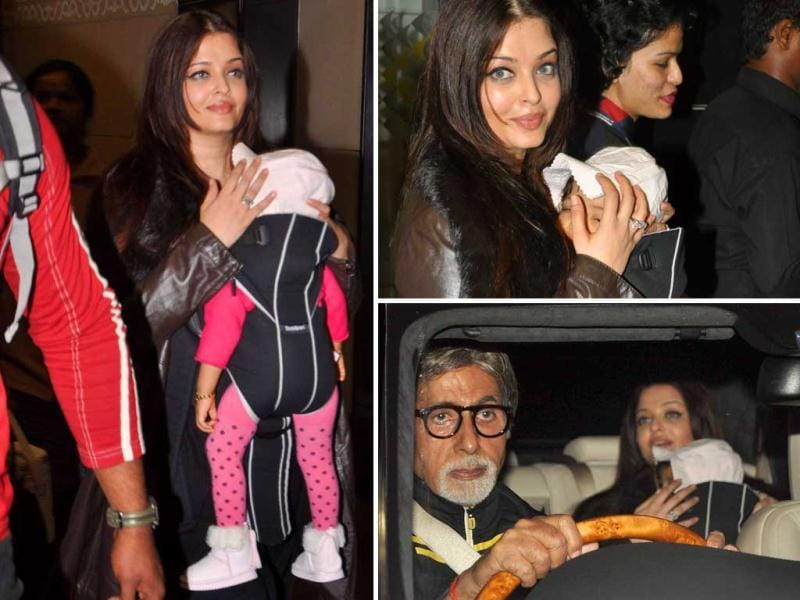 Ten-month-old Aaradhya Bachchan arrived with mommy Aishwarya in Mumbai on Friday night after visiting daddy Abhishek in Chicago. No surprise that grandpa Amitabh received them himself.