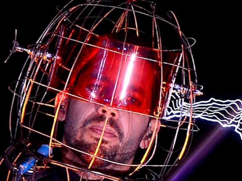 US magician David Blaine stands under lighting bolts at the start of his latest performance,