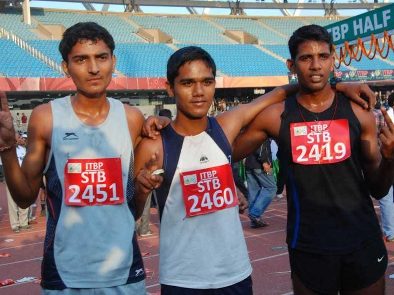 People after completing half marathon organised by ITBP at JLN Stadium in New Delhi. (UNI)