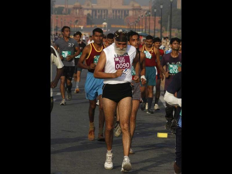 Participants take part in half marathon organized by The ITBP on the theme