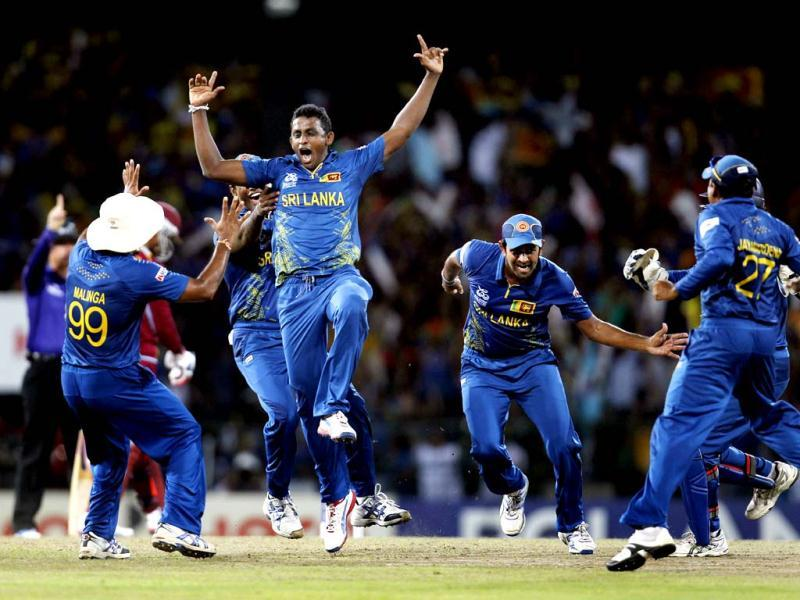 Sri Lanka's Ajantha Mendis celebrates after the dismissal of West Indies' Chris Gayle during the ICC World T20 Final between Sri Lanka and West Indies at R Premadasa Stadium. Ajay Aggarwal/Hindustan Times