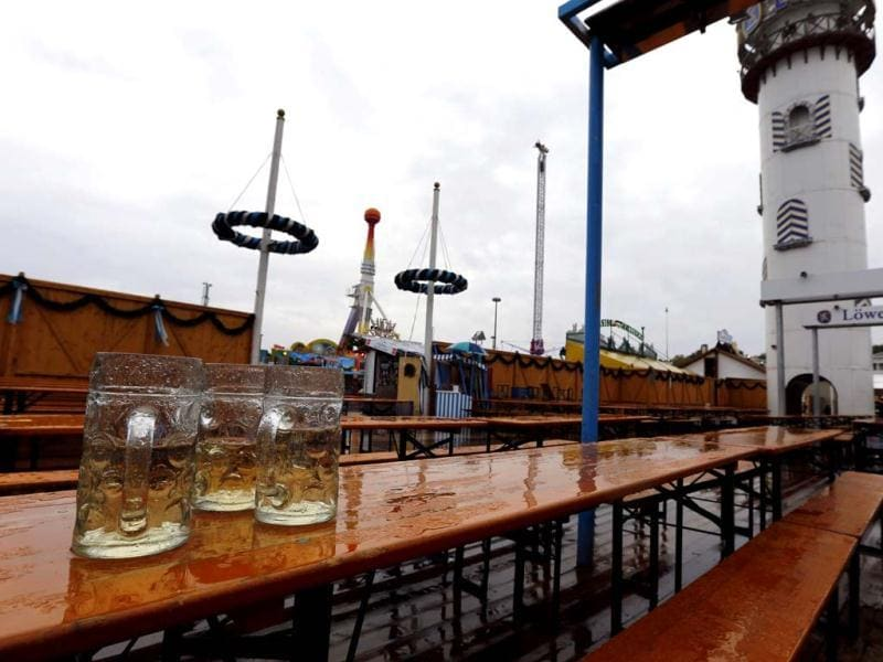 Empty Oktoberfest Beergarden tables are pictured during rain at the last day of the world biggest beer festival in Munich. Reuters Photo