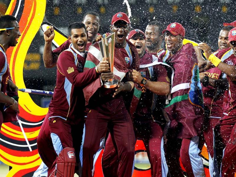 West Indies celebrate after winning the ICC World T20 cricket final against Sri Lanka at R. Premadasa Stadium. Ajay Aggarwal/Hindustan Times