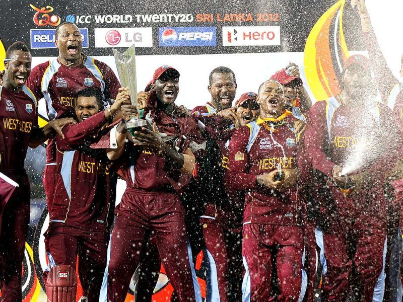West Indies celebrate with their trophy after winning the ICC World T20 cricket final match against Sri Lanka at R Premadasa Stadium. Ajay Aggarwal/Hindustan Times