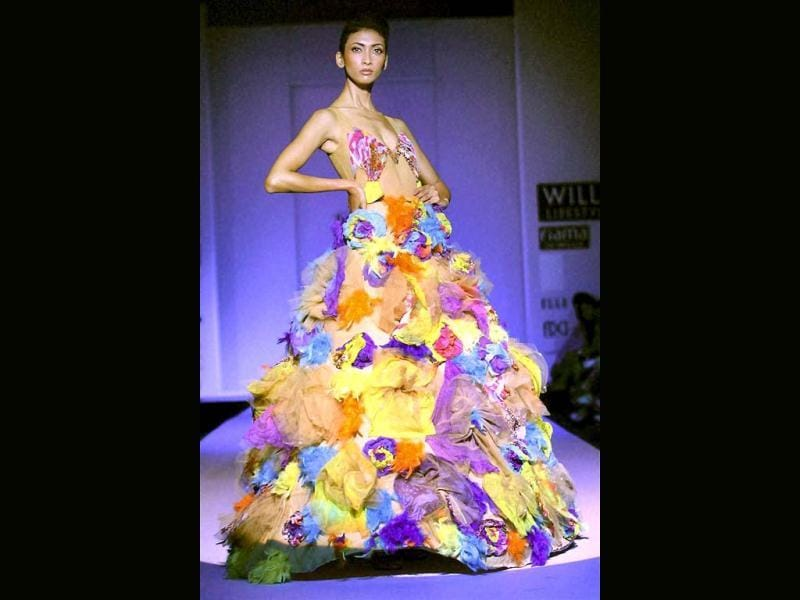A model shows the creation of designer Khushi Shah during the Wills Lifestyle India Fashion Week in New Delhi on Monday. (PTI)