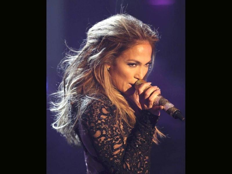 Actress and singer Jennifer Lopez performs during the German game show Wetten Dass (Bet it...?) in the Western German town of Duesseldorf.