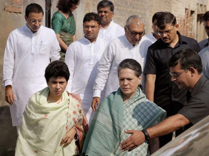Congress president Sonia Gandhi arrives to meet the family of a Dalit teenaged girl, who immolated herself after being allegedly gang-raped, at Sachcha Khera in Jind. PTI Photo