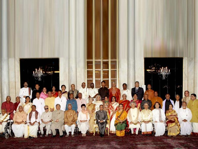 President Pranab Mukherjee at a photo session with awardees during the Sangeet Natak Akademi Awards 2011 function at Rashtrapati Bhavan in New Delhi . PTI Photo