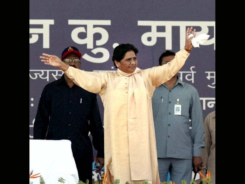 BSP supremo Mayawati during a party rally on the occasion of party founder Kanshiram's sixth death anniversary in Lucknow. PTI/Nand Kumar